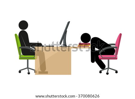 vector cheerful and tired stick mans in the office - stock vector
