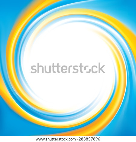 Vector cheerful curly ripple backdrop with space for text. Beautiful spiral whorl surface. Cycle mix of national Ukrainian or Swedish flag symbolic colors with glowing white center in middle - stock vector