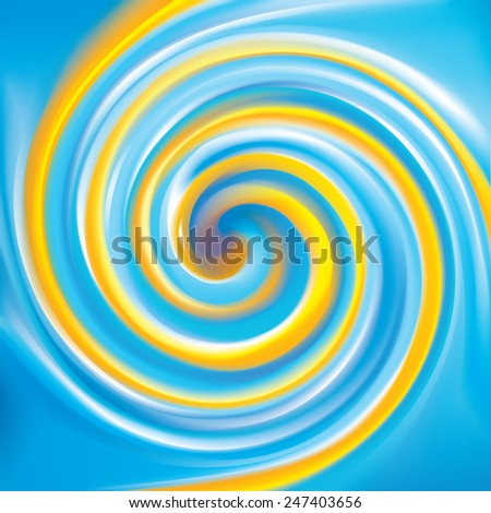 Vector cheerful curly ripple backdrop with space for text. Beautiful whorl plastic surface. Cycle mix of national Ukrainian flag symbolic colors: bright yellow and light blue - stock vector