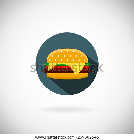 Vector cheeseburger with onion lettuce and sauces in bun. hamburger - stock vector