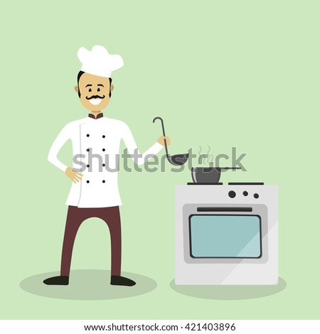 Vector chef cook with an oven - stock vector