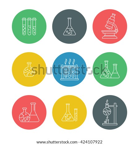 Vector chemical processing equipment - Beaker, burner, test tubes, microscope, retorts. Set of line icons isolated on white. Linear design. Illustration of chemistry, medicine, science etc - stock vector