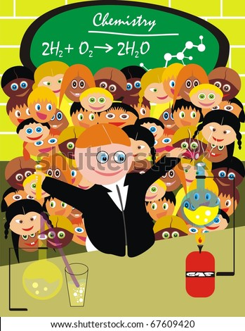 VECTOR - Chemistry Lesson on The Lab - Group of Students watching the Smart Boy doing the Experiment - Back to School Smiles - stock vector