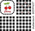 vector - Cherries & Gingham Seamless Patterns in 3 designs. EPS8 file has 3 check pattern swatches (tiles) that will seamlessly fill any shape. - stock vector