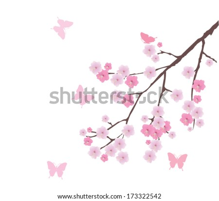 vector cherry blossom branch with pink butterflies