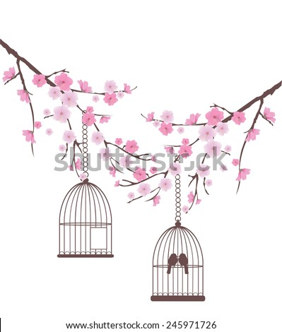 vector cherry blossom branches with birds in a cage - stock vector