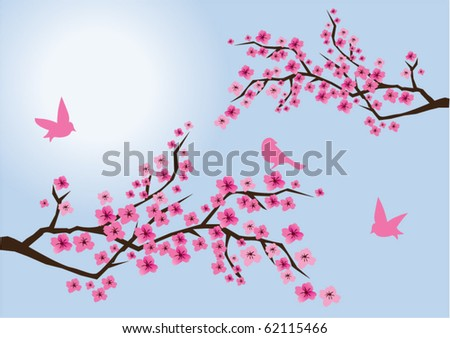 vector cherry blossom with birds - stock vector