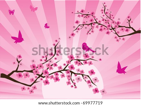 vector cherry blossom with birds and butterflies - stock vector