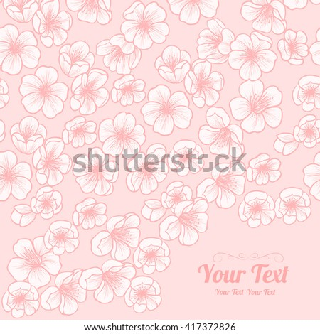 Vector cherry blossoms  frame corner pattern . Invitation or greeting card design.Vector illustration - stock vector