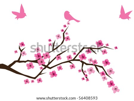 vector cherry branch in blossom - stock vector