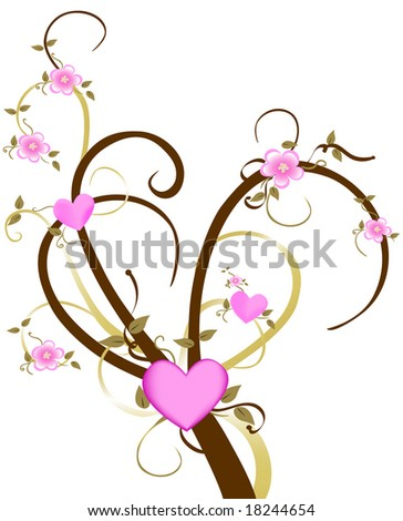 Vector Cherry flowers and hearts bloom from this tree on white. - stock vector