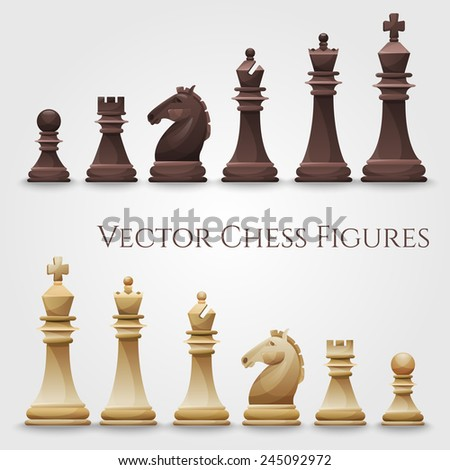 Vector Chess Figures, black and white. Illustration - stock vector