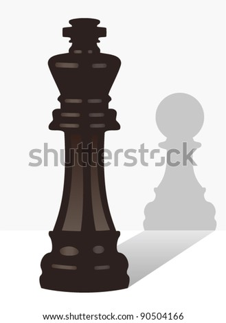 vector chess king with the shadow of a pawn - stock vector