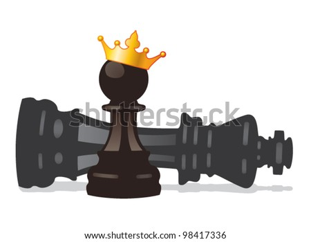 vector chess pawn with golden crown and defeated king - stock vector