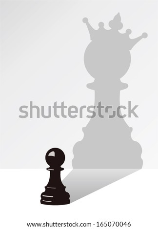vector chess pawn with the shadow of the same pawn, but with a crown - stock vector
