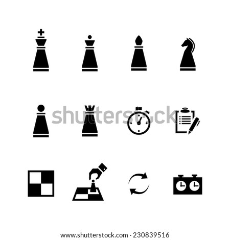 Vector Chess pieces Black icons set isolated on a white background - stock vector