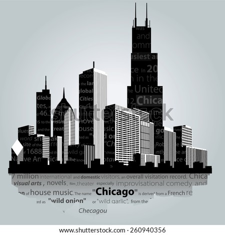 Vector. Chicago city silhouette. - stock vector