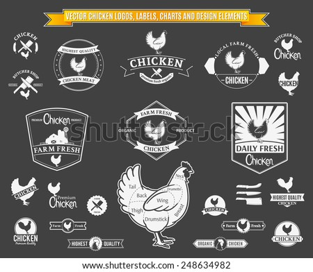 Vector Chicken Logos, Labels, Charts and Design Elements - stock vector