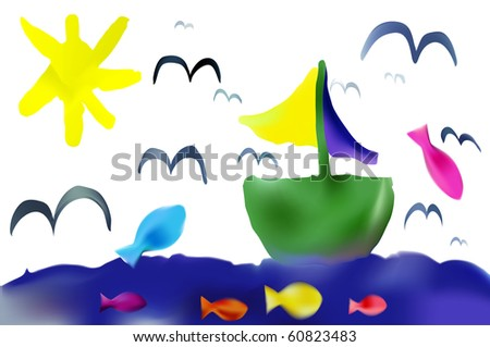 vector child drawing summer vacation - stock vector