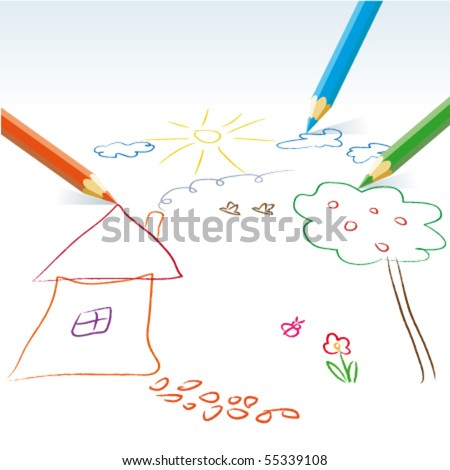 Vector child drawing with pencils - stock vector