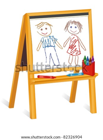 vector - Child's Crayon Drawings. Little girl and boy sketch on pad of paper, wood easel, box of crayons, copy space. EPS8 in groups for easy editing. - stock vector