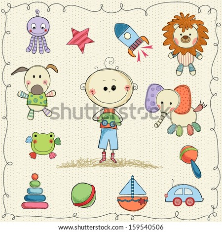 Vector child's toys with little boy and frame. Seamless background. - stock vector