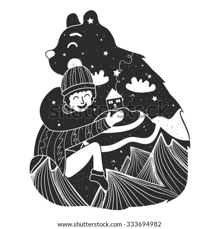 Vector childish illustration with bear and little boy. Cute typography poster with mountains, house, stars and clouds inside. T-shirt design, home decoration, greeting postal cards. Friendship concept - stock vector
