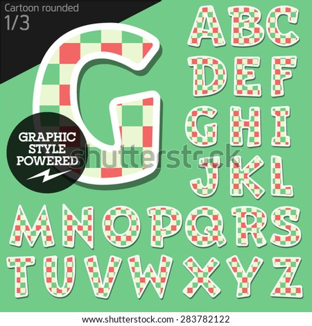 Vector children alphabet set in fresh mosaic style. File contains graphic styles available in Illustrator. Uppercase letters - stock vector