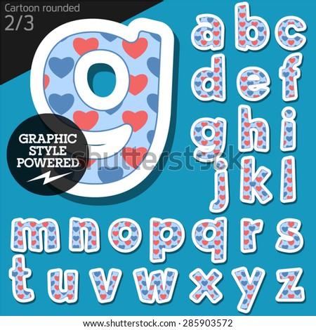 Vector children alphabet set in redneck heart style. File contains graphic styles available in Illustrator. Lowercase letters - stock vector