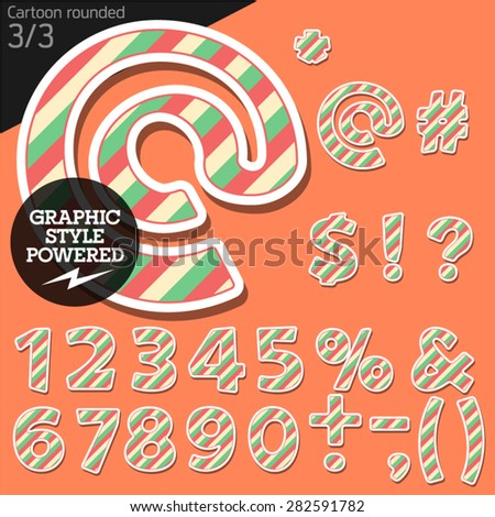 Vector children alphabet set in striped candy style. File contains graphic styles available in Illustrator. Symbols and numbers - stock vector