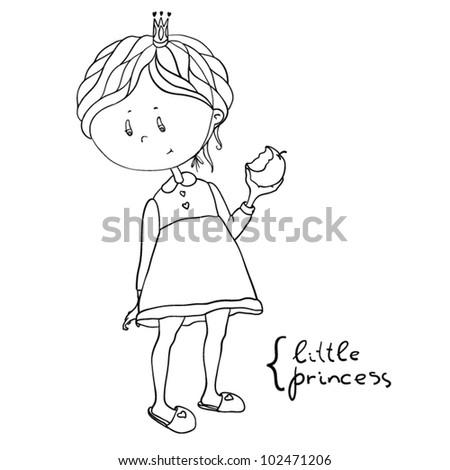 Vector Children Illustration. Little Princess - stock vector