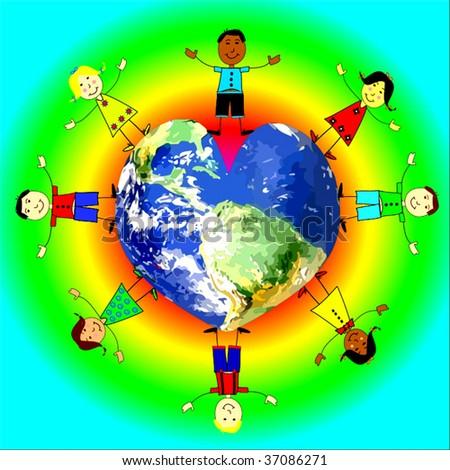 Vector Children Love The World - stock vector