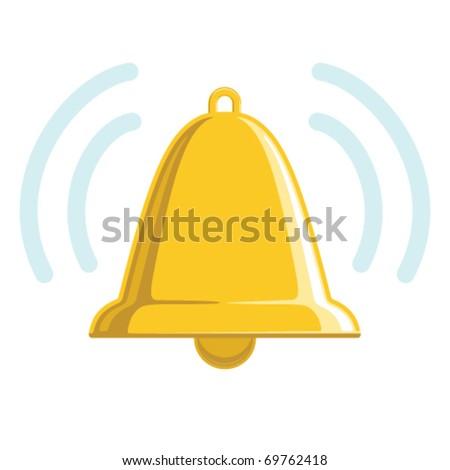 Vector chiming golden bell.  No gradients. - stock vector