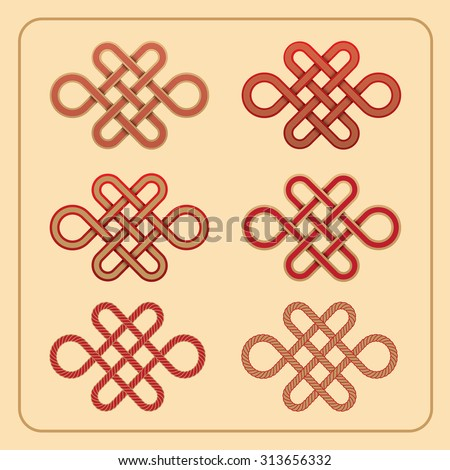 Vector Chinese endless knot red and gold colour set