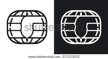 Vector chip card icon. Two-tone version on black and white background - stock vector