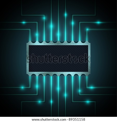 Vector chip on the motherboard - stock vector