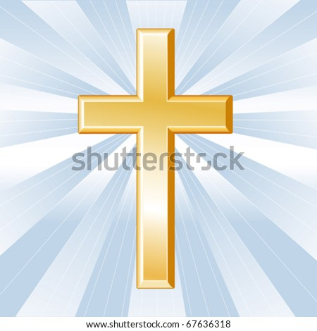 vector - CHRISTIAN CROSS. Golden crucifix, symbol of the Christian faith on a sky blue background with rays. EPS8 organized in groups for easy editing. - stock vector