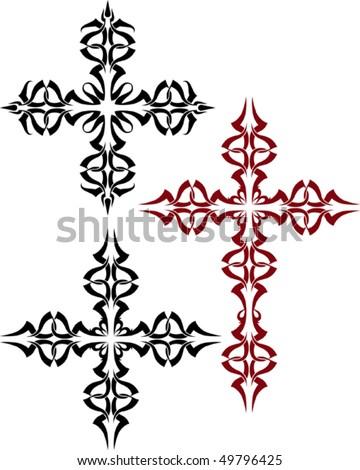 Vector Christian Crosses - stock vector