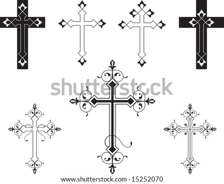 Vector Christian Crosses (it can be used in Tattoo, Mehandi, Printing, Vinyl Cutting)