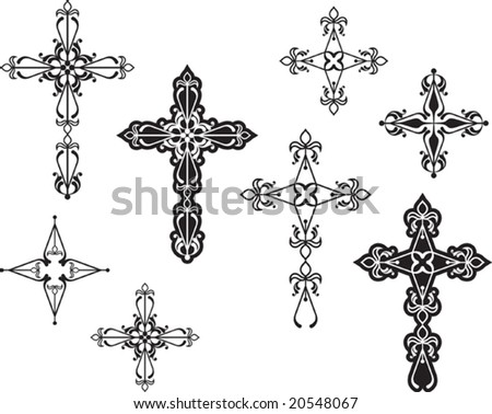 Vector Christian Crosses (it can be used in Tattoo, Mehandi, Printing, Vinyl Cutting) - stock vector