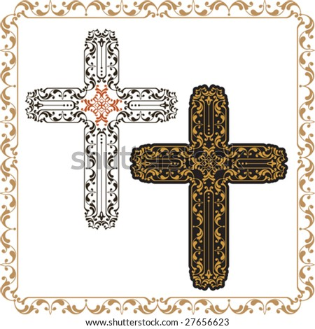 Vector Christian Crosses Ornamental