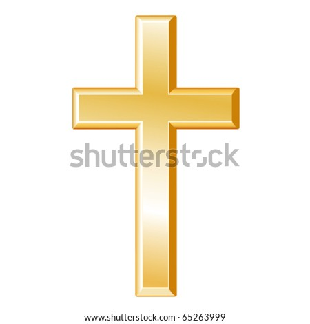 vector - Christian Symbol.  Golden cross, symbol of the Christian faith on a white background. EPS8 compatible. - stock vector