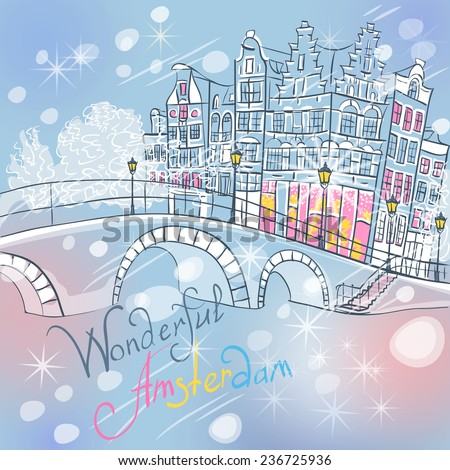 Vector christmas Amsterdam canal, typical dutch houses and bridge, Holland, Netherlands.  - stock vector