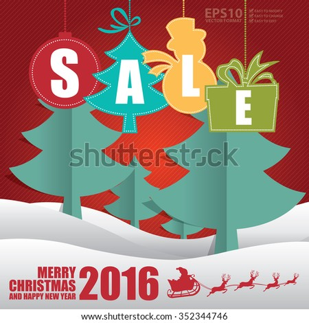 vector christmas and happy new year with sale tag christmas tree snow