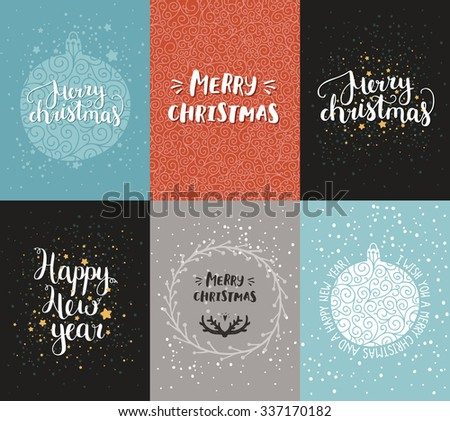 Vector Christmas and New year cards collection with handdrawn lettering. Xmas cards on winter background - stock vector