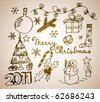 Vector Christmas and New Year doodle illustration - stock photo