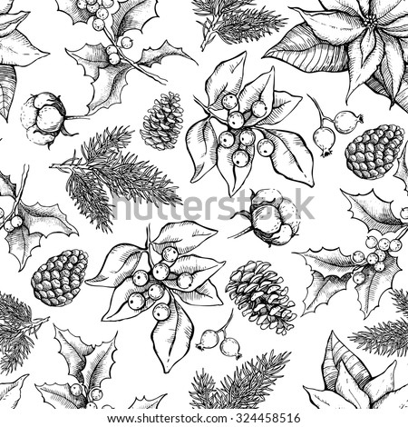 Vector Christmas and New Year hand drawn vintage pattern for holiday design. Great for greeting and invitation cards, banners, postcards, gift wrapping paper - stock vector