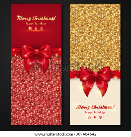 Vector Christmas and New Year Invitation Cards with Shiny Glitter and Decorative Bows. Gold Glitter Texture, Sequins Pattern. Lights and Sparkles. Glowing New Year Backdrop.