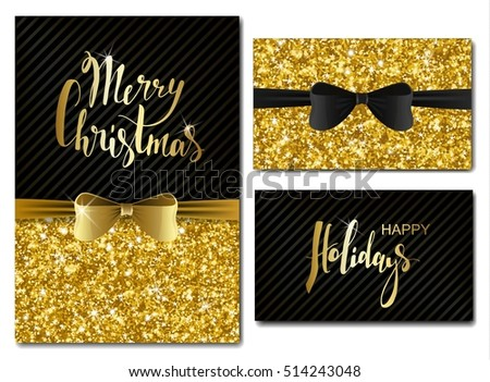 Vector christmas new year invitation cards stock vector 514243048 vector christmas and new year invitation cards with shiny glitter and decorative bows gold glitter stopboris Images