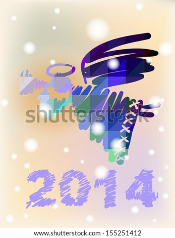 Vector Christmas angel and New Year hand-painted decoration - stock vector